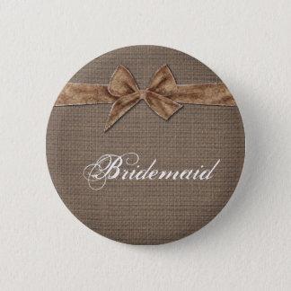Badge Rond 5 Cm Demoiselle d'honneur rustique d'arc de toile de