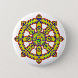 Badge Rond 5 Cm Dharma bouddhiste Chakra