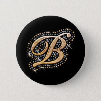 """Badge Rond 5 Cm Diamants blancs et bouton d'or de l'initiale """"B"""""""