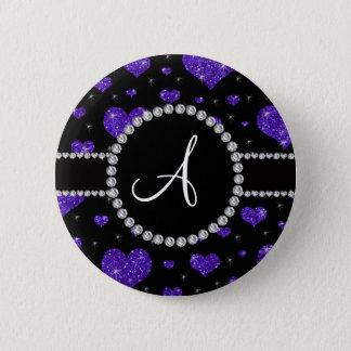 Badge Rond 5 Cm Diamants noirs de coeurs pourpres de scintillement