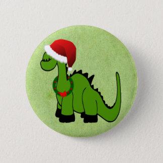 Badge Rond 5 Cm Dinosaure de Noël