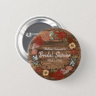 Badge Rond 5 Cm Douche nuptiale en guirlande florale rustique