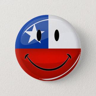 Badge Rond 5 Cm Drapeau chilien de sourire de rond brillant