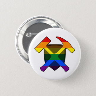 Badge Rond 5 Cm Drapeau d'arc-en-ciel du bouclier LGBT de marteau