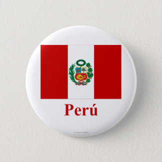 Badge Rond 5 Cm Drapeau du Pérou avec le nom dans l'Espagnol