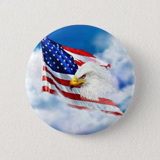 Badge Rond 5 Cm Eagle et drapeau américain