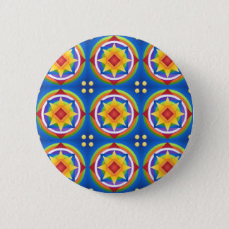 Badge Rond 5 Cm Édredon de mandala d'arc-en-ciel