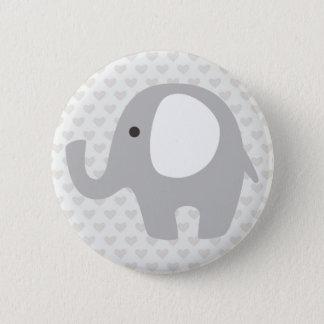 Badge Rond 5 Cm Éléphant magnifique de bébé dans le gris neutre