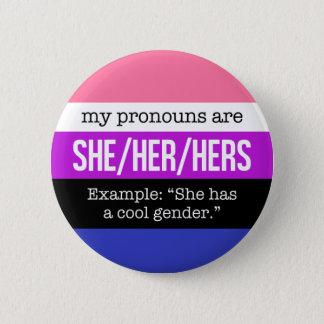 Badge Rond 5 Cm Elle/ses pronoms - drapeau de Genderfluid