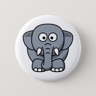 Badge Rond 5 Cm Ellie l'animal mignon de bande dessinée d'éléphant