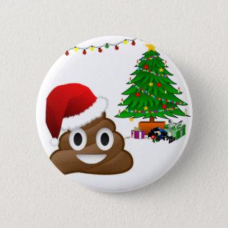 Badge Rond 5 Cm emoji de poo de Noël