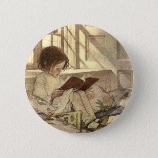 Badge Rond 5 Cm Enfant vintage lisant un livre, Jessie Willcox
