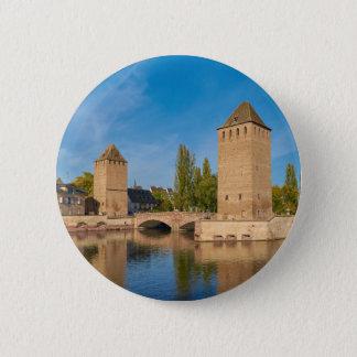 Badge Rond 5 Cm Enveloppes de Pont de tour d'Alsace Strasbourg