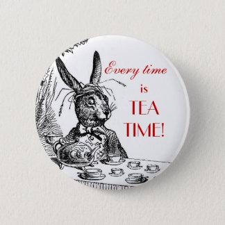 """Badge Rond 5 Cm 'Est chaque fois le temps de thé !"""" ~Alice dans le"""