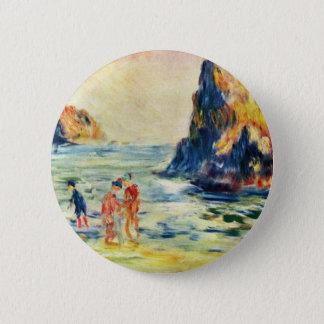 Badge Rond 5 Cm Falaises de Guernesey par Pierre-Auguste Renoir