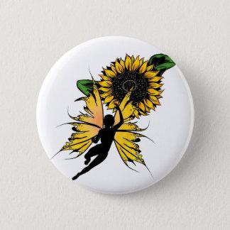 Badge Rond 5 Cm Fée d'ombre de tournesol