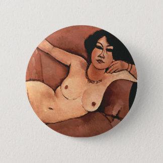 Badge Rond 5 Cm Femme d'Amedeo Modigliani sur un sofa