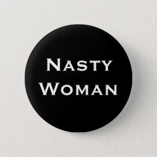 Badge Rond 5 Cm Femme méchante - texte blanc audacieux sur le noir