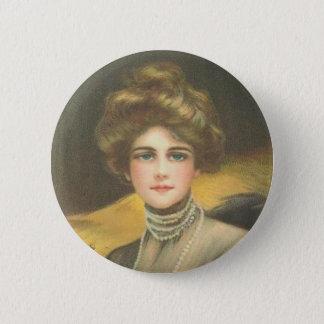 Badge Rond 5 Cm Femme victorienne sur un bouton