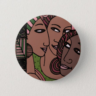 Badge Rond 5 Cm Femmes roses et vertes d'Afro-américain