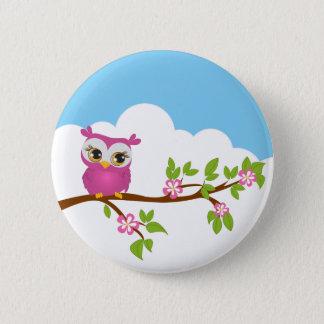 Badge Rond 5 Cm Fille mignonne de hibou sur un bouton de branche