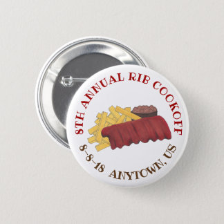 Badge Rond 5 Cm Fin gourmet annuel de barbecue de côtes