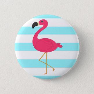 Badge Rond 5 Cm Flamant rose sur les rayures turquoises légères