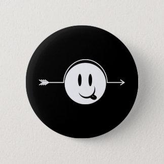 Badge Rond 5 Cm Flèche souriante de ~ de visage par le bâillon