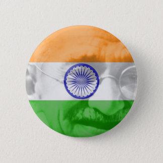 Badge Rond 5 Cm Gandhi sur le drapeau indien