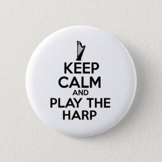 Badge Rond 5 Cm Gardez le calme et jouez l'harpe