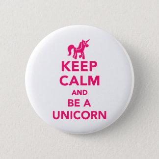 Badge Rond 5 Cm Gardez le calme et soyez une licorne