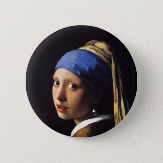 Badge Rond 5 Cm Girl with a pearl earring. By Johannes Vermeer