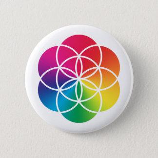Badge Rond 5 Cm Graine d'arc-en-ciel de Chakras de symbole de la