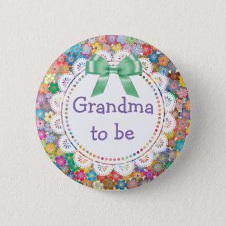 Badge Rond 5 Cm Grand-maman à être bouton floral de baby shower