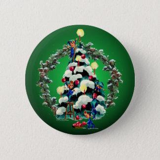 Badge Rond 5 Cm GUIRLANDE d'ELFES, d'ARBRE et de SAPIN par SHARON