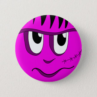Badge Rond 5 Cm Halloween Frankenstein - rose