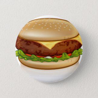 Badge Rond 5 Cm Hamburger de fromage de bande dessinée
