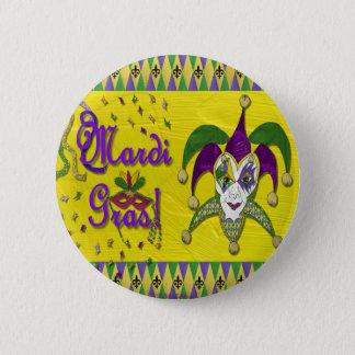 Badge Rond 5 Cm Harlequin de mardi gras de masque de farceur