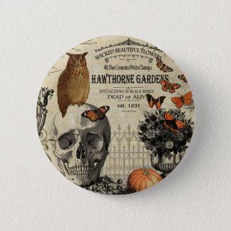 Badge Rond 5 Cm Hibou et crâne vintages modernes de Halloween