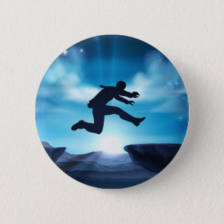 Badge Rond 5 Cm Homme d'affaires sautant de silhouette