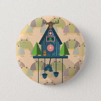Badge Rond 5 Cm Horloge de coucou avec le papier peint de tortue