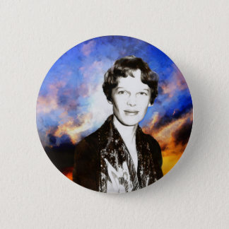 Badge Rond 5 Cm Illustration d'Amelia Earhart