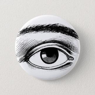 Badge Rond 5 Cm Illustration vintage noire et blanche d'oeil