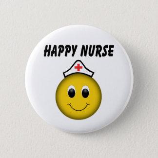 Badge Rond 5 Cm Infirmière souriante heureuse de visage