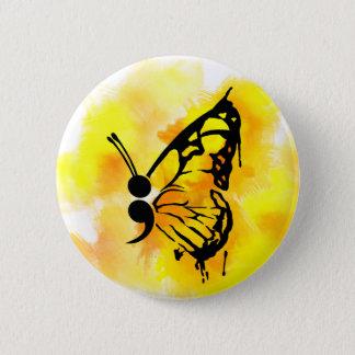 Badge Rond 5 Cm Insigne de point-virgule de papillon