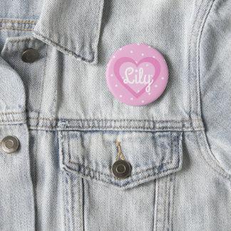 Badge Rond 5 Cm Insigne personnalisable de coeur assez rose