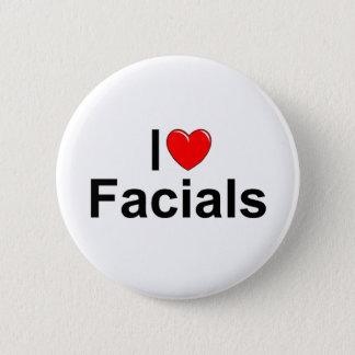 Badge Rond 5 Cm J'aime des massages faciaux (de coeur)