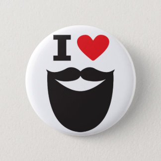 Badge Rond 5 Cm J'aime la barbe - rouge