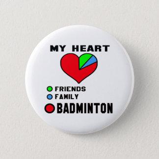 Badge Rond 5 Cm J'aime le badminton