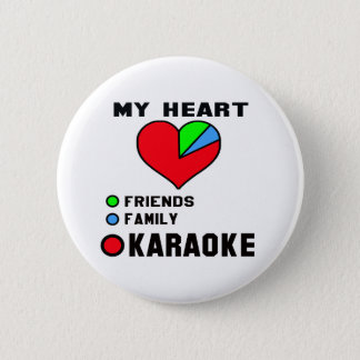 Badge Rond 5 Cm J'aime le karaoke